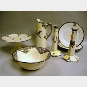 Eight American Belleek Silver Overlay White Glazed Porcelain Table Articles.