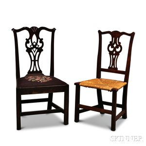 Two Chippendale Carved Side Chairs