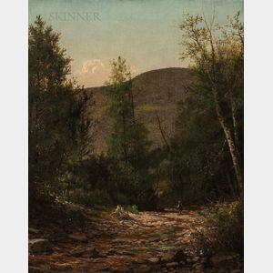 John Adams Parker Jr. (American, 1829-1905)      Figure in a Wooded Landscape