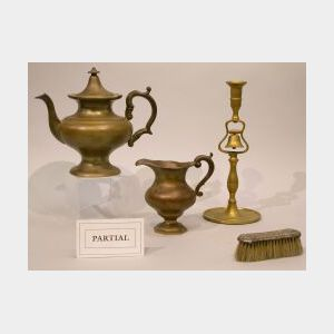 Fourteen Pieces of Assorted Decorative and Domestic Pewter, Brass, Sterling Silver and Iron.