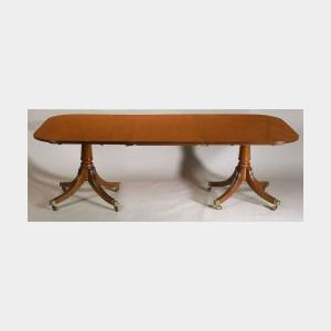 George III Mahogany Double Pedestal Dining Table