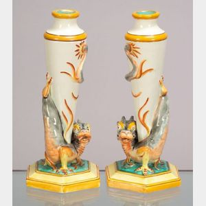 Pair of Wedgwood Queen's Ware Dragon Vases