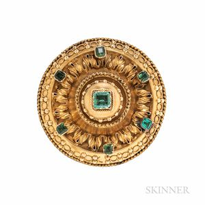 Antique Gold and Emerald Brooch