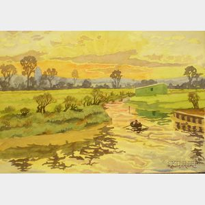Unframed Watercolor on Paper River Landscape with Rower