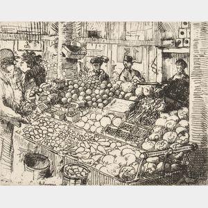 Jean-Émile Laboureur (French, 1877-1943)      Marché aux Légumes, New York