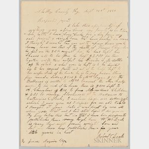 Letter from Robert Doak Describing the Will of Thomas Chambers