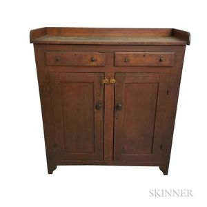 Large Red-painted Pine Cupboard