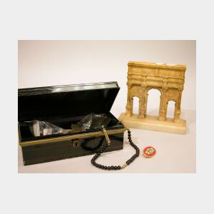 Carved Alabaster Architectural Bookend and a Box of Costume Jewelry