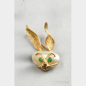 14kt Gold Gem-set Rabbit Brooch