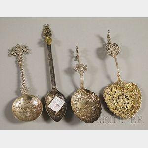 Four Continental Silver Spoons.