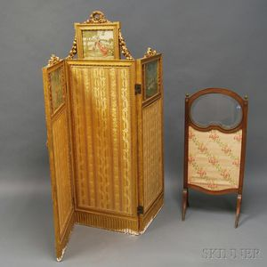 Three-panel Giltwood Screen and a Small Walnut Firescreen