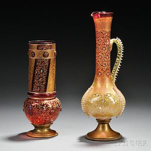 Moser-type Gilded and Enameled Glass Ewer and Vase