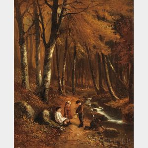 Benjamin Champney (American, 1817-1907)      Children by a Forest Stream, Autumn