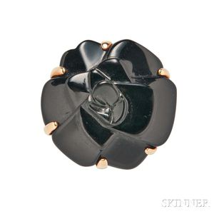 """18kt Gold and Onyx """"Camelia"""" Ring, Chanel"""