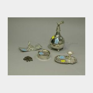 Pairpoint Silver Plated Atomizer, Money Clip, Collar Button Box, Ring Holder and Figural Rabbit Blotter.
