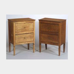 Pair of Italian Neoclassical Fruitwood Inlaid Walnut Two Drawer Side Tables