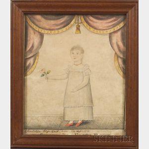 "American School, 19th Century    Portrait of ""Charlotte Eliza Raub born 22 Sept. 1812 Aged 7 yrs."