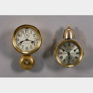 Two Seth Thomas Ship's Bell Wall Clocks