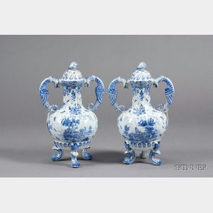 Pair of Dutch Delft Vases and Covers