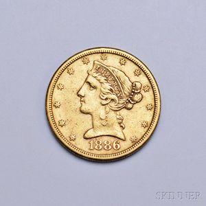 1886-S Liberty Head Five Dollar Gold Coin