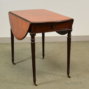 George III Inlaid Mahogany One-drawer Pembroke Table