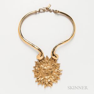 Yves Saint Laurent Gold-plated Necklace with Sun God Medallion