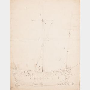 Attributed to Willem van de Velde the Younger (Dutch, 1633-1707)      Sketch of a Fishing Vessel