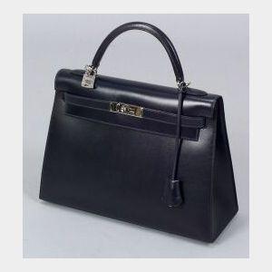 "Blue Leather ""Kelly"" Bag"
