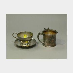 Pairpoint Silver Plated Cup and Saucer, Shaving Mug and Aesthetic Reticulated Basket.
