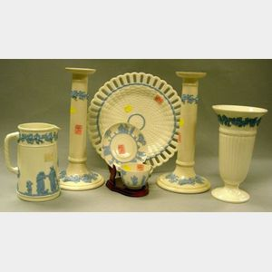 Seven Wedgwood Light Blue Embossed Queen's Ware Articles