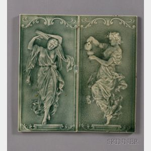 Two Figural Tiles: Possibly Pilkington Tileworks