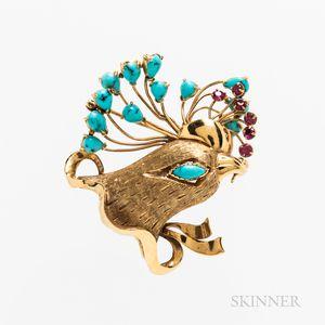 18kt Gold Gem-set Bird Brooch
