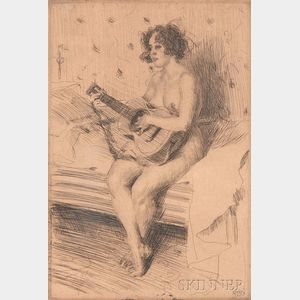 Anders Zorn (Swedish, 1860-1920)      The Guitar-player