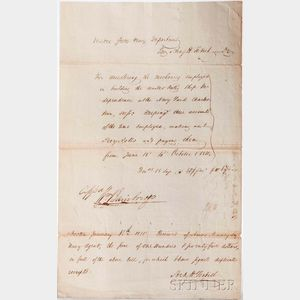 Bainbridge, Commodore William (1774-1833) Receipt Signed, 1814.