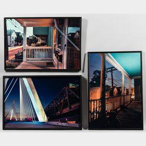 Mary Kocol (American, b. 1962)      Three Framed Photographs: Zakim Bridge and Central Artery at Night