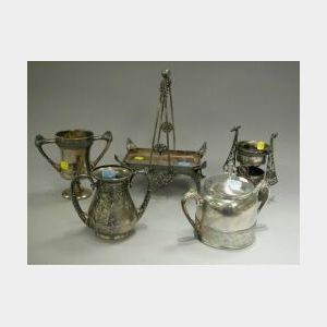 Five Pairpoint Aesthetic Silver Plated Items