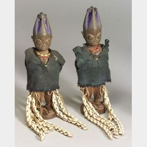 African Carved Wood Twin Female Ibeji Dolls