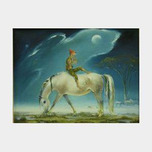Framed Oil of a Pixie on Horseback