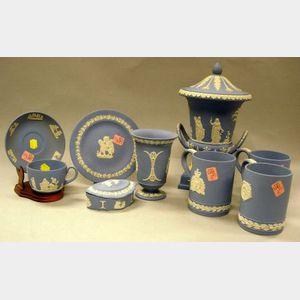 Nine Wedgwood Light Blue Solid Jasper Items