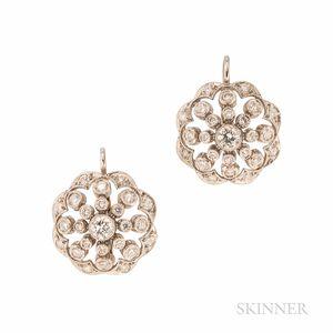 Platinum and Diamond Earrings