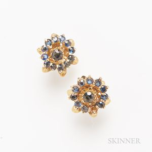 Pair of 14kt Gold and Sapphire Earstuds
