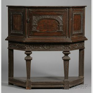 Jacobean-style Carved and Inlaid Oak Press Cupboard