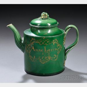 Yorkshire Green-glazed Creamware Teapot and Cover