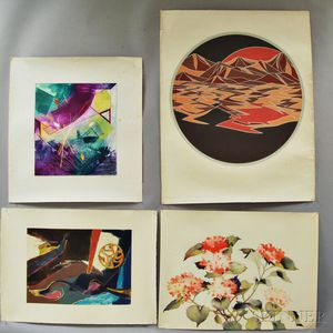 Four Unframed Lithographs, an Oil on Board, and a Woodcut