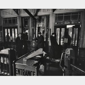 """Berenice Abbott (American, 1898-1991)      """"El"""" Station: Sixth and Ninth Avenue Lines, Downtown Side"""