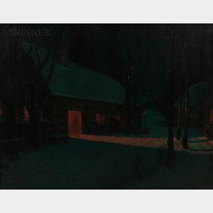 Svend Svendson (Norwegian/American, 1864-1945)      Forge on a Winter's Night