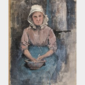 Julian Alden Weir (American, 1852-1919)      Seated Woman with a Bowl