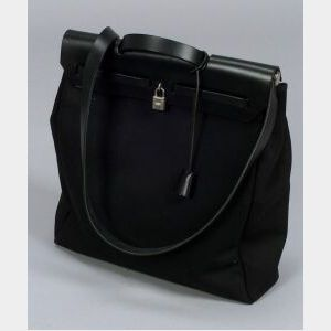 """Black Leather and Canvas """"Herbag"""" Bag"""