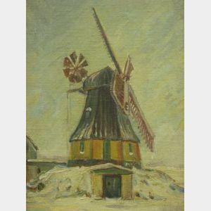 Framed Oil of a Windmill.