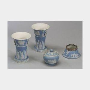 Four Wedgwood Miniature Light Blue Jasper Dip Items